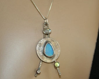 Opal silver necklace Labradorite and Peridot pendant-handmade-metalsmith work