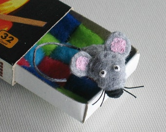 Gray mouse miniature plush in matchbox with tiny fleece quilt play set
