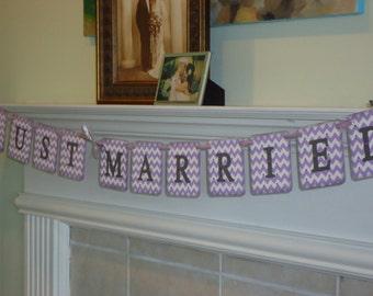 Just Married Banner-Just Married Garland-Wedding Banner-Chevron Wedding-Lilac Chevron Sign-Reception Banner-Chevron Wedding Sign-Chevron