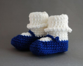 Baby Girl Mary Jane Shoes in Royal Blue with White Sock for Newborns, free shipping