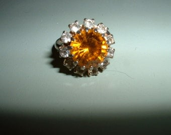 Vintage Amber and Clear Rhinestone Round silvertone setting Ring adjustable