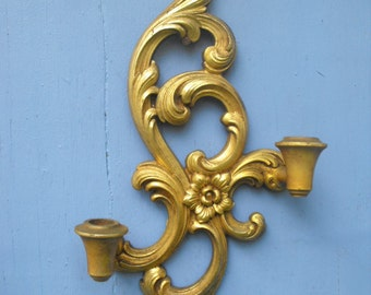 Vintage Candle Holder Sconce Gold SYROCO Hanging Wall Art