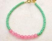 Dainty bead bracelet, skinny beaded bracelet, minimal green pink bead bracelet, seed bead jade bracelet, stacking bracelet, girlie, cute