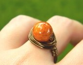 Riverstone Brown Ring - Jewelry Rings - Size 7.5 - Orange Ring - Brown Mocca Rustic Ring Girl Fashion Jewelry, Jewelry Stone Cocktail Rings