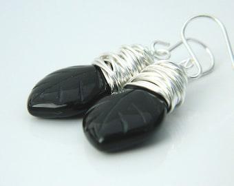 Gemstone Jewelry Earrings, Black Earrings, Drop Earrings, Black Stones, Leaf, Wire Wrapped Earrings, Silver, Brides Jewel, Stone Earrings