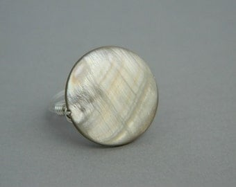Wire Wrapped Ring. To Order - Mother of Pearl, Grey, Golden, Cloudy, Calm, Gray, Autumn, Fall, Circle, Classic, Jewelry Rings, Shell Rings