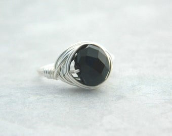 Black Ring. Black Rondelle Ring. Black and Silver Ring. Faceted Rondelle Crystal, Black, Silver, Classic Ring, Jewelry Rings, Anillo Negro