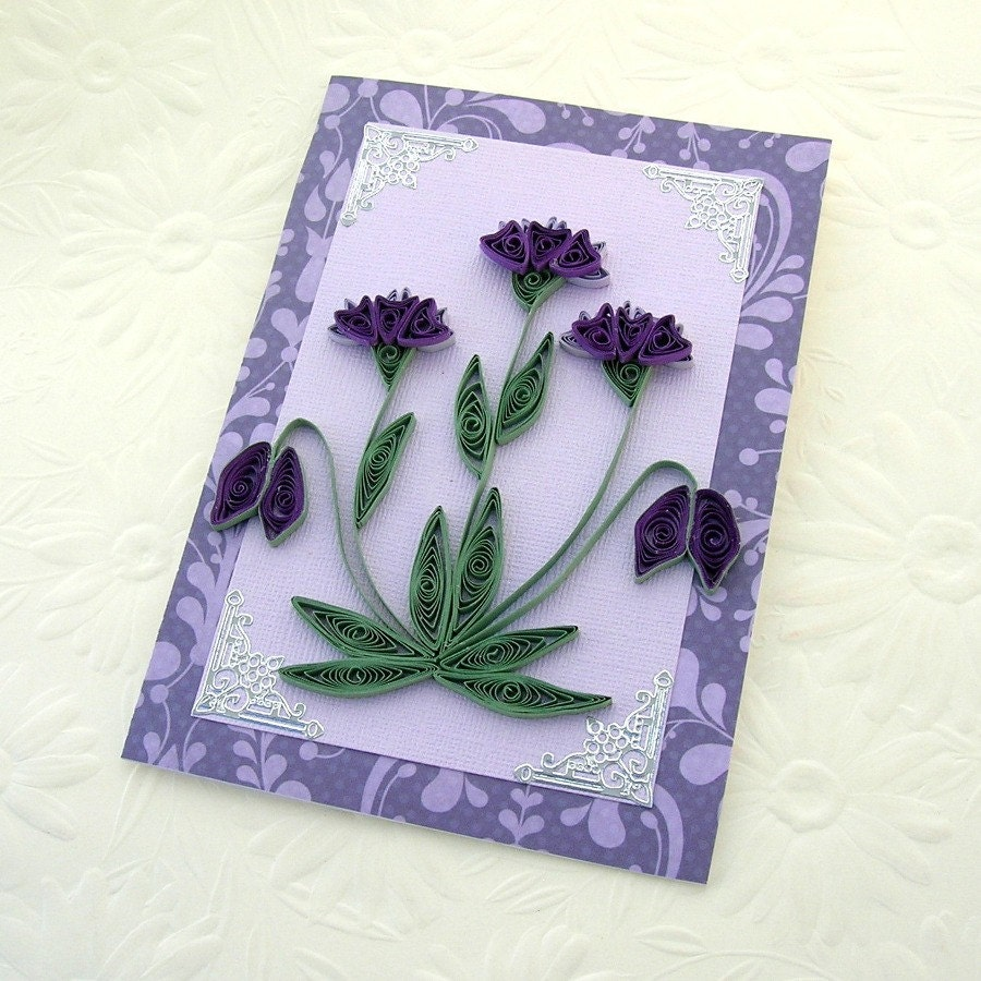 paper quilling greeting card paper quilled purple and
