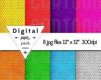 SuperHero grungy polka dot Paper Pack - 8 Printable Digital Scrapbooking Papers - 12 x 12 - 300 DPI - INSTANT DOWNLOAD