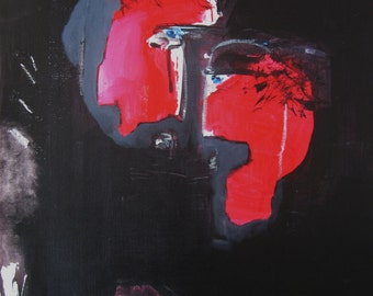"""24""""x18""""abstract couple painting/ red black art, red grey acrylic painting, figures, couple art, love art, abstract figure"""