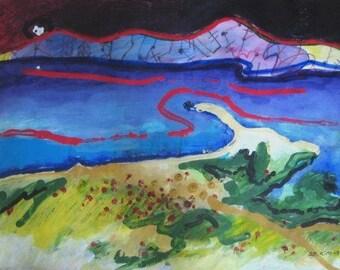 blue abstract landscape painting modern art Painting Contemporary Modern pond Painting Newfoundland art acrylic sjkim