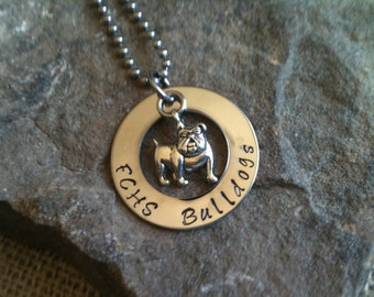 Hand Stamped Jewelry Charm Necklace Pendant Bulldog Sports