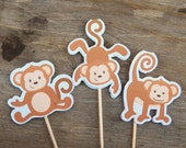 Monkey Birthday Party - Set of 24 Monkey Trio Cupcake Toppers by The Birthday House