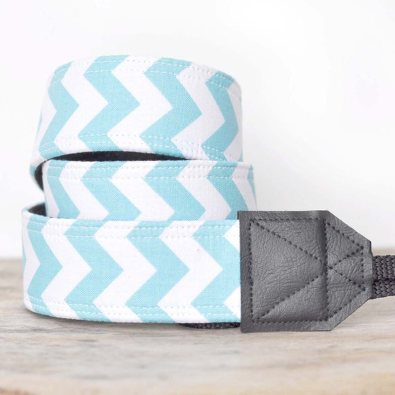 MADE TO ORDER - Camera Strap - Aqua and White Chevron