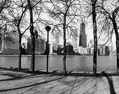Chicago Skyline from Olive Park (Winter): Black and White Photo