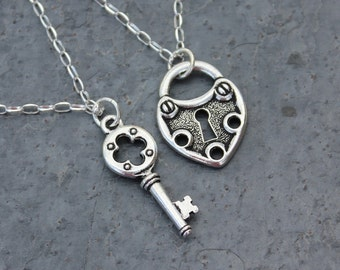 Steampunk key to my heart silver necklace set w/ sterling chains- couples jewelry- two necklaces - love anniversary - free shipping USA