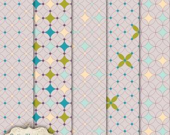 LAYERED PATTERNS - Vol 3 - Digital Scrapbooking Overlays - 5 Layered Patterns - 12 x 12 inch -3.75