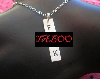 F Word, Rectangle Necklace, Curse Word, Stamped Necklace, Charm Necklace, Silver Pendant, Sterling Silver, Bar Necklace, Mature, Metal Taboo