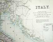1890 Large Two-Page Antique Map of Italy - Antique Italy Map - Special Library Edition
