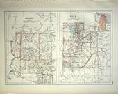 1890 Large Antique Map of Arizona and Utah - Antique Arizona Map - Antique Utah Map - Special Library Edition