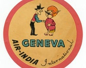 1950s Vintage Mint Condition Air India Luggage Label / Travel / Aviation (Geneva Route)