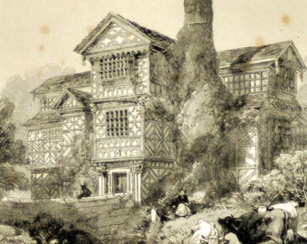 1844 Your Personal Downton Abbey Series. English Antique Wood Engraving of Moreton Hall, Cheshire, England