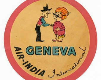 Vintage Air India Luggage Label Travel - Mint Condition 1950s Label