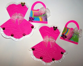 Die Cut, Dress, Purse, Prom Dress, Party Dress, Mini, Handbag, Card Toppers, Paper Embellishments, Card Making, Scrapbooking, Cards DIY