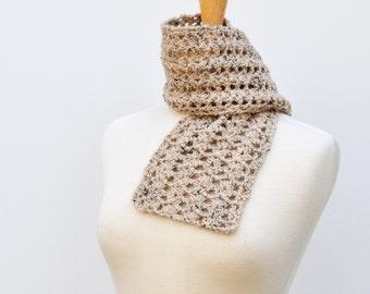 Beige Crochet Scarf Alpaca Wool Scarflette Woman's Neckwarmer