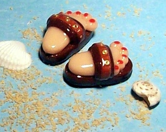 Clearance - Flip Flop BEADS Handmade from Polymer Clay