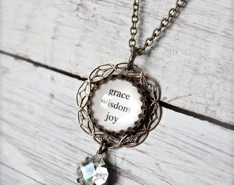 Grace Wisdom Joy antique brass domed glass necklace.  Inspirational words.  Vintage octagon rhinestone.