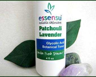 Patchouli Lavendula Glycolic Acid Renewing Herbal Facial Toner | Anti-Age Formula | Blemishes | Mature Skin | Exfoliating | Vegan - 4 oz
