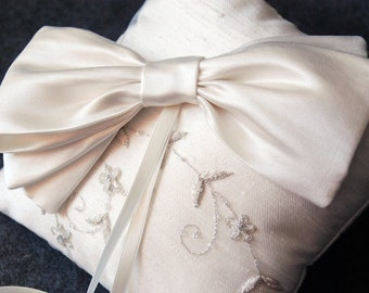 Sale - Ring Bearer Pillow - Ivory Silk Ring Bearer Pillow with Lace Embroidery Overlay and Silk Bow - Eloise