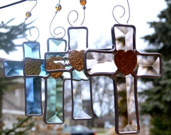 Jesus Loves Me Mini Beveled Cross Suncatcher