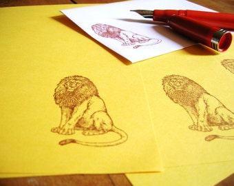 lion letter set on sunshine yellow paper for writing your regal pen pal