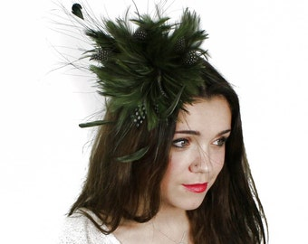Guinea Olive Fascinator  Hat for Weddings, Occasions and Parties on a Headband