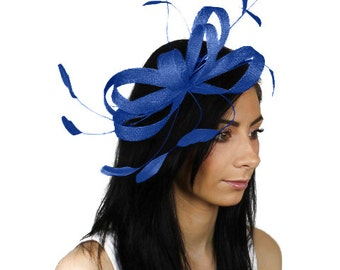 Sinamay Butterfly Royal Blue Fascinator Hat for Weddings, Races, and Special Events With Headband