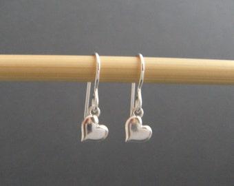 """tiny sterling silver heart earrings leverback lever back hook dangles silver heart everyday jewelry. drop earrings. simple 6.5 mm heart 1/4"""""""