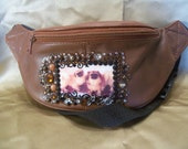 SALE...New Brown Leather Fanny Pack / Pouch  with Vintage Pekingese Dogs and Rhinestones
