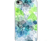 On Sale! Blue Green Whispy Flowers with White or Black Sides iPhone Case - IPhone 4, 4S, 5, 5S, 5C, 6 Hard Cover Trendy  - artstudio54