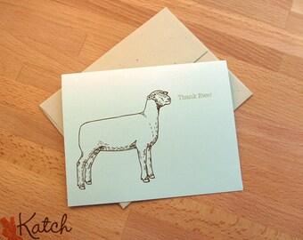 Thank Ewe Cards, Stationery Set of 8