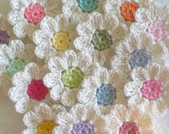 Crochet Flower Appliques - set of 16, handmade, craft supplies, embellishments, scrapbooking