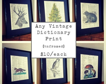 Any Vintage Dictionary Book Page Print - Unframed