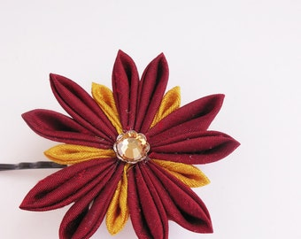 Red and Gold Flower Star Bobby Pin Tsumami Kanzashi