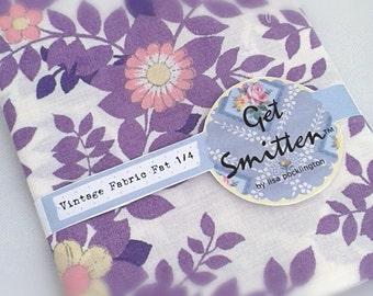 Purple and Lilac Botanical Leaf English Vintage Fabric Fat Quarter