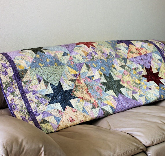 Large Lap Quilt - Stars over my Garden - 60 x 78