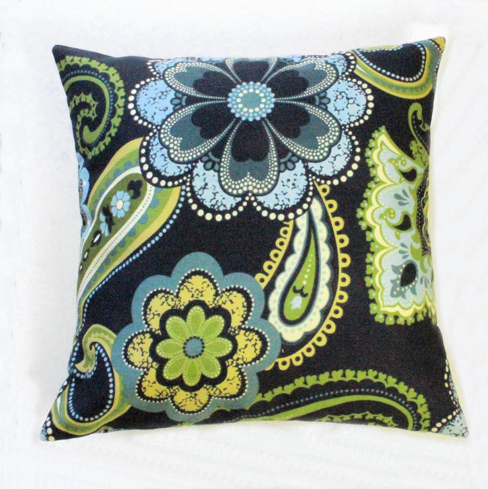 Navy Blue And Green Throw Pillows : Paisley and Floral Accent Throw Pillow Cover in Navy Blue and