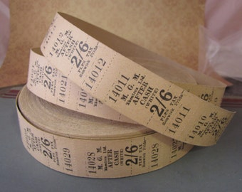 Vintage Tan Admit One Cinema Tickets 2/6 Australia MGM Theatres Lot of 20 for Collage Altered Arts Mixed Media