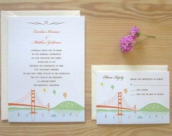 San Francisco Wedding Invitation & RSVP Card Package - Golden Gate Bridge