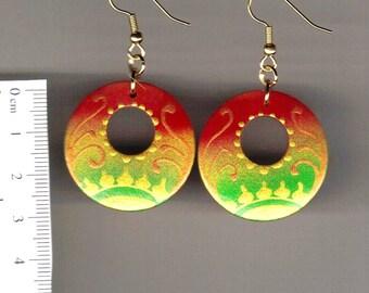 swirly sun - red gold green (handpainted wooden earrings)